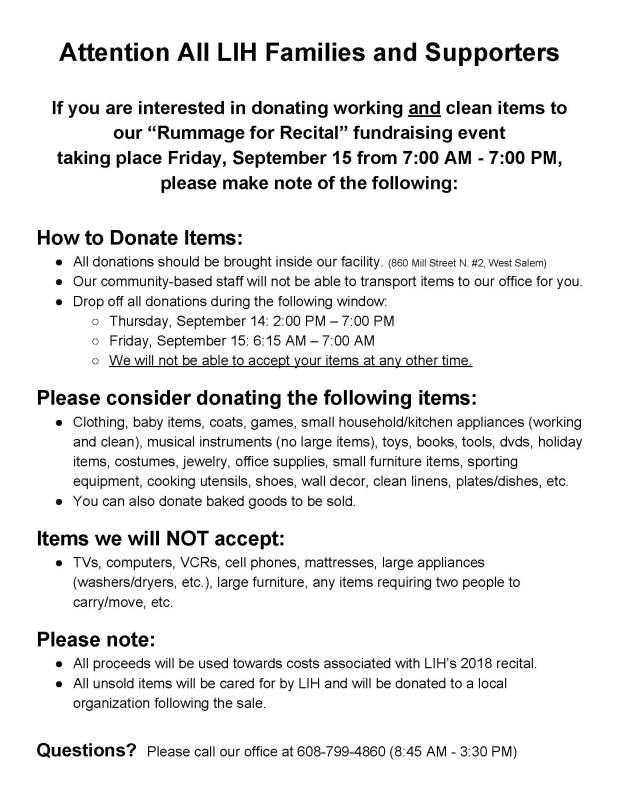 Rummage Sale Donation Instructions